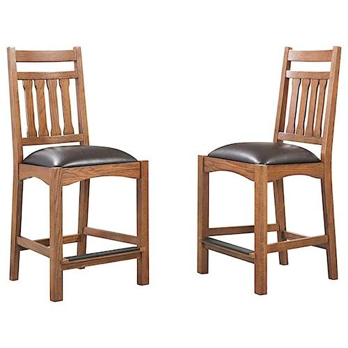 Intercon Oak Park Slatback Barstool with Upholstered Seat