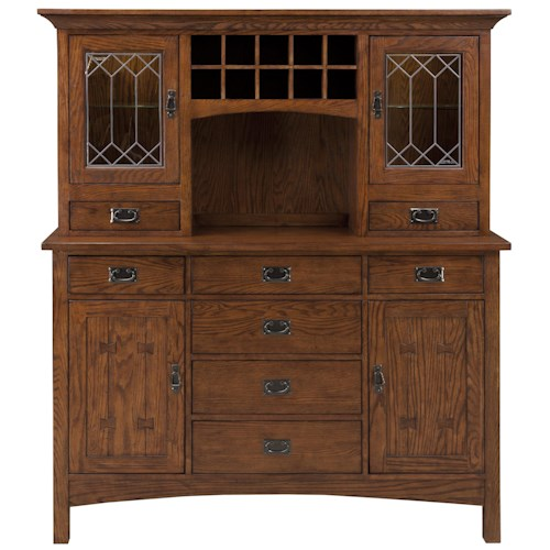 Intercon Oak Park China Cabinet with Wine Bottle Storage