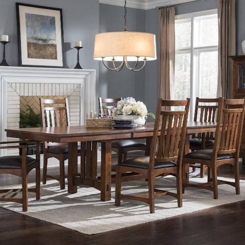Intercon Oak Park Rectangular Trestle Table with Butterfly Leaf