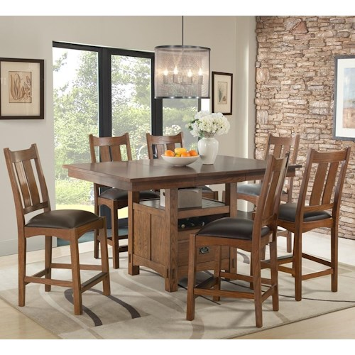 Intercon Oak Park 7 Piece Counter Height Table and Chair Dining Set