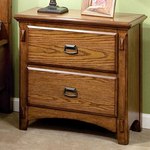 Intercon Pasadena Revival  Two-Drawer Nightstand with Metal Drawer Pulls