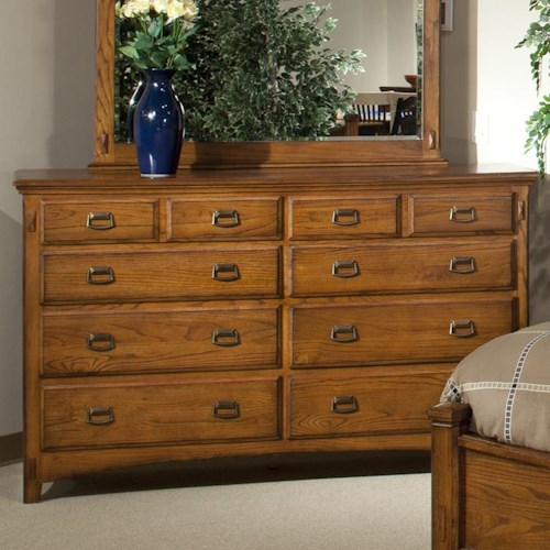 Intercon Pasadena Revival  Eight-Drawer Dresser in Medium Brown Finish with Metal Handle Drawer Pulls