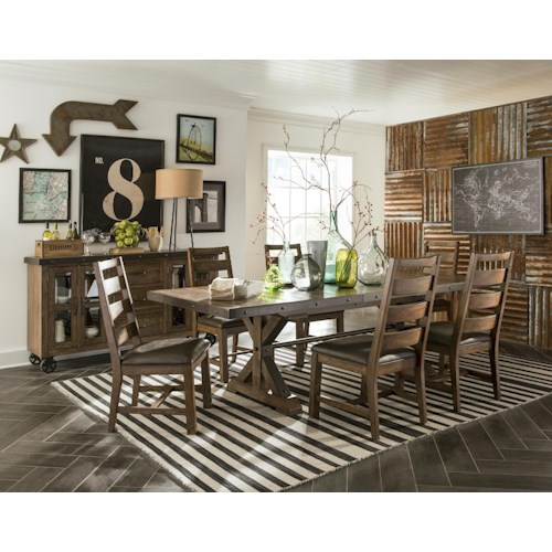 Intercon Taos 5 Piece Rectangular Table and Chair Set with Self-Storing Leaf