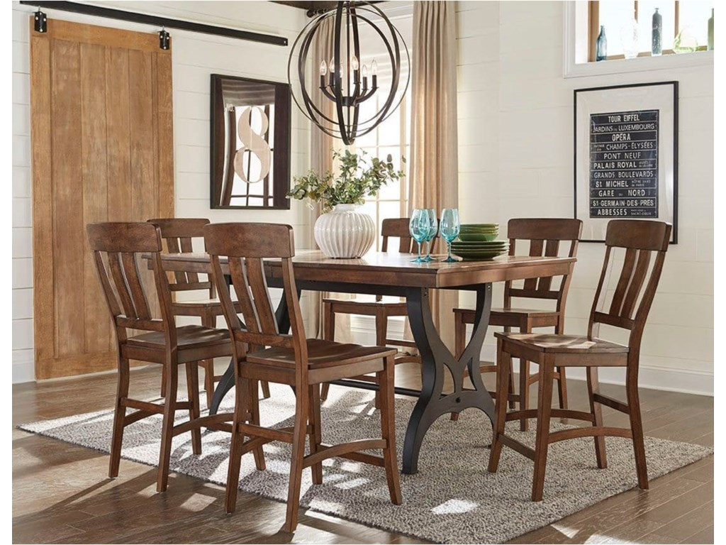 intercon the district 7 piece gathering table bar stool set with leaf old brick furniture dining 7 or more piece sets - Old Brick Dining Room Sets