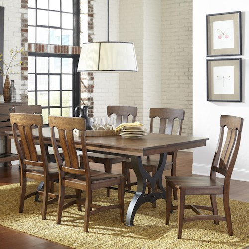 Intercon The District 7 Piece Table & Chair Set with Leaf