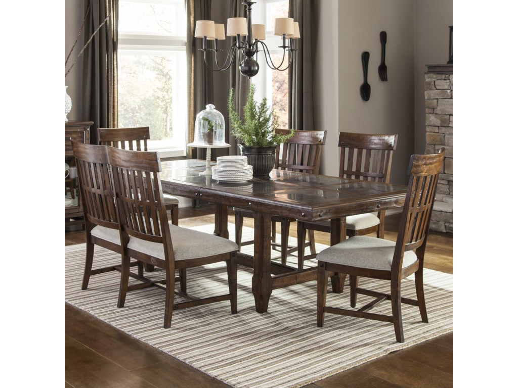 intercon wolf creek 6 piece dining set with bench old brick furniture table chair set with bench - Old Brick Dining Room Sets