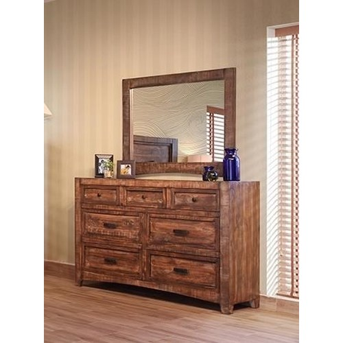 International Furniture Direct Porto 7 Drawer Dresser & Mirror
