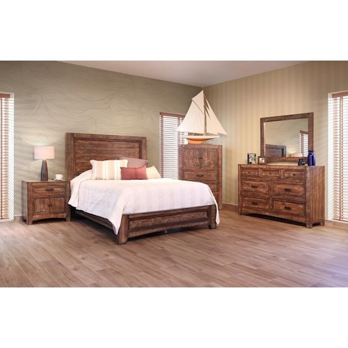 International Furniture Direct Porto King Bed, Dresser, Mirror & Nightstand