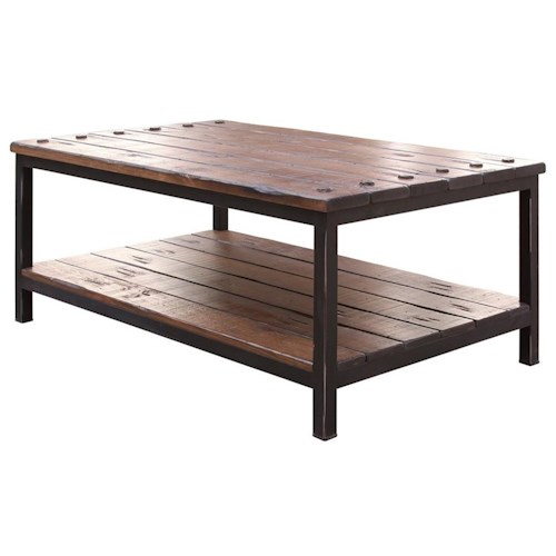 International Furniture Direct Pueblo Cocktail Table with Shelf
