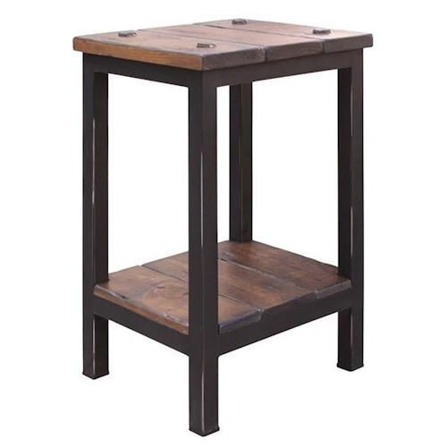 International Furniture Direct Pueblo Chairside Table with Shelf