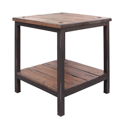 International Furniture Direct Pueblo End Table with Shelf