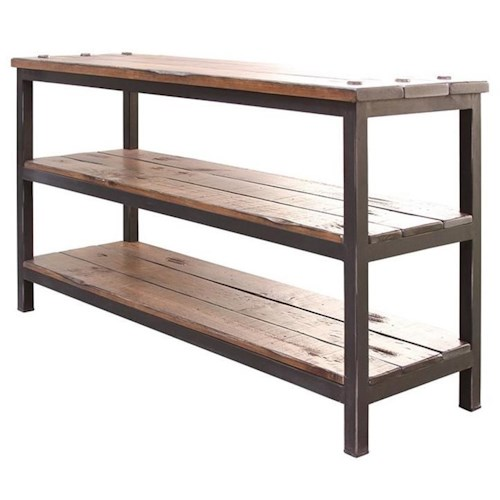 International Furniture Direct Pueblo Sofa Table with Shelves