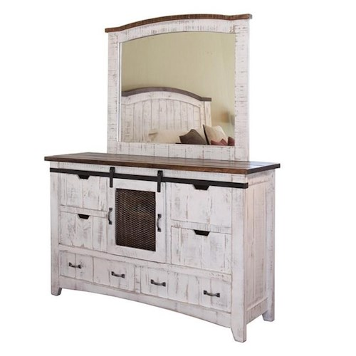 International Furniture Direct Pueblo Distressed Dresser and Mirror Set