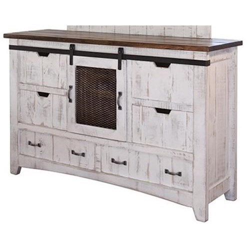 International Furniture Direct Pueblo Dresser with Sliding Mesh Door
