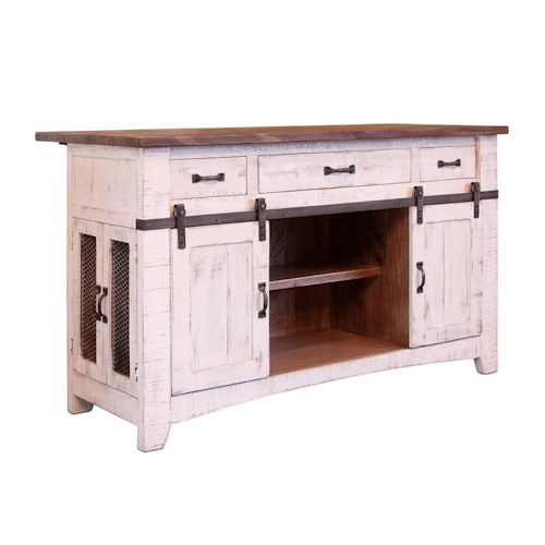 International Furniture Direct Pueblo Kitchen Island with Sliding Doors