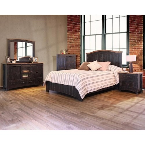 International Furniture Direct Pueblo Black King Bedroom Group