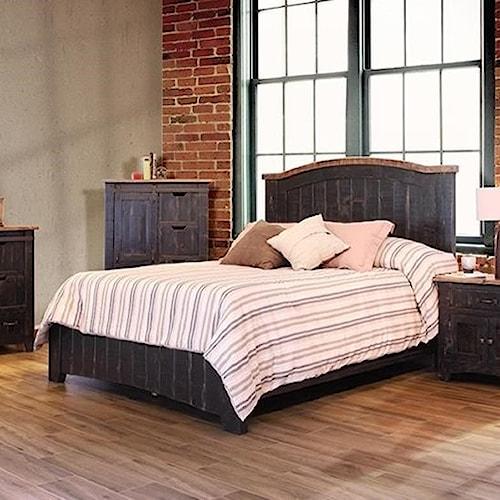 International Furniture Direct Pueblo Black Panel California King Bed with Plank Design