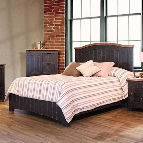 International Furniture Direct Pueblo Black Panel Queen Bed with Plank Design