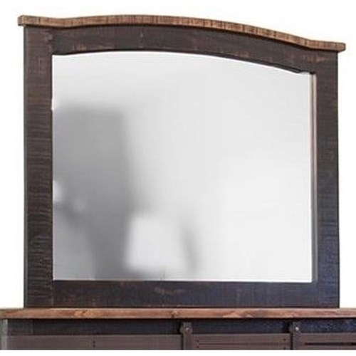 International Furniture Direct Pueblo Black Mirror with Distressed Frame