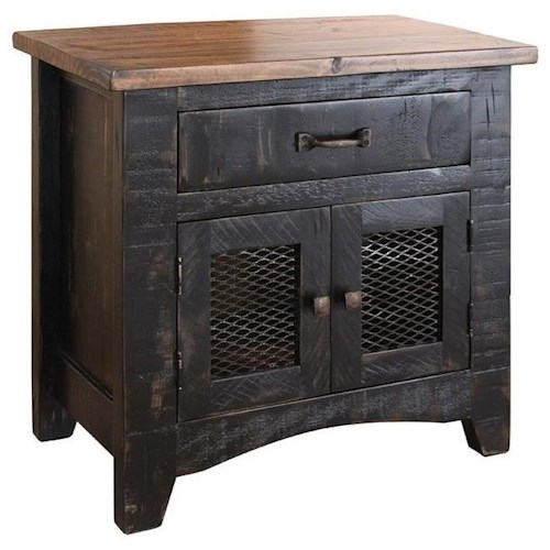 International Furniture Direct Pueblo Black Rustic Nightstand with Mesh Panel Doors