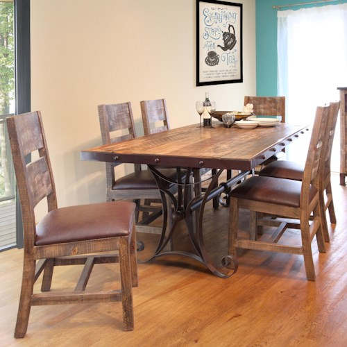 International Furniture Direct 900 Antique 7 Piece Dining Set with Iron Trestle Table
