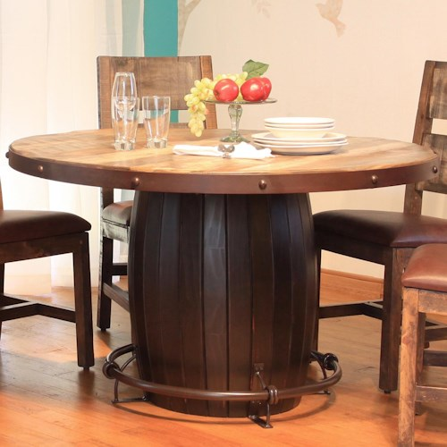 International Furniture Direct 900 Antique Round Dining Table with Barrell Base and Iron Footrest
