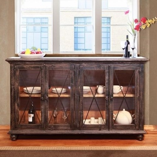 International Furniture Direct Vintage Console Table with Glass Doors
