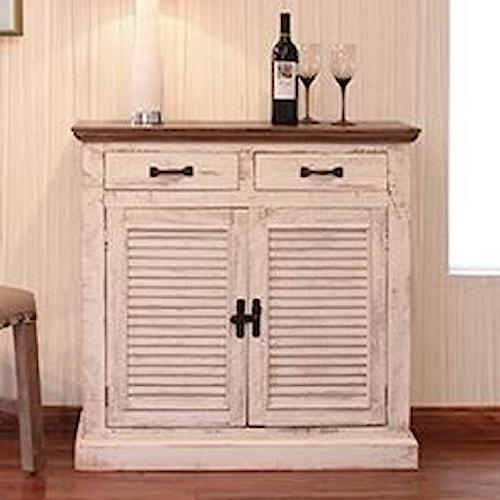 International Furniture Direct Havana Rustic Server with Shutter Doors