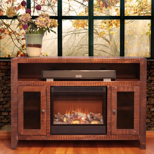 International Furniture Direct Monte Carlo Fireplace Television Stand w/ 2 Doors