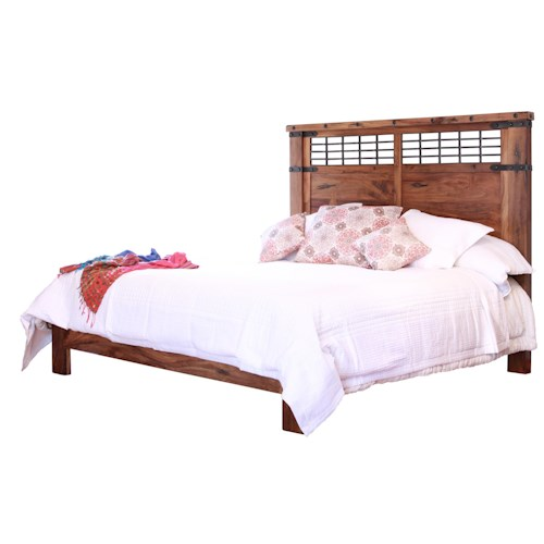 International Furniture Direct Parota Queen Platform Bed with Wrought Iron Detail