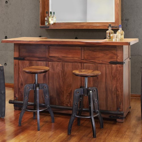 International Furniture Direct Parota Wood Bar with Iron Footrest