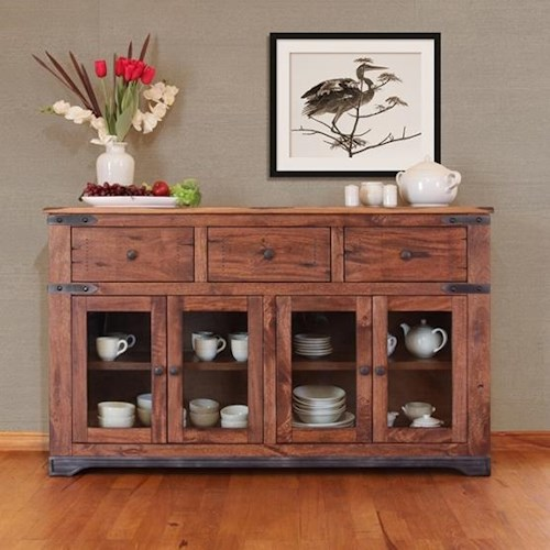 International Furniture Direct Parota 70 Inch Console with Drawer and Doors