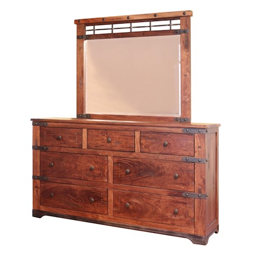 International Furniture Direct Parota 7 Drawer Dresser And