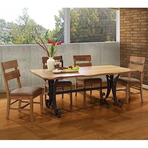 International Furniture Direct Parota 5 Piece Industrial Dining Set
