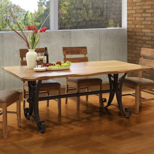 International Furniture Direct Parota Rectangular Dining Table with Iron Trestle Base