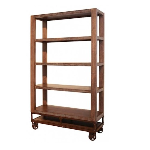 International Furniture Direct Urban Gold 70 Inch Bookcase with 4 Shelves and Casters