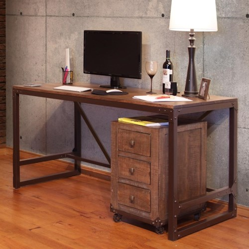 International Furniture Direct Urban Gold Writing Desk with Wood Top and Iron Base