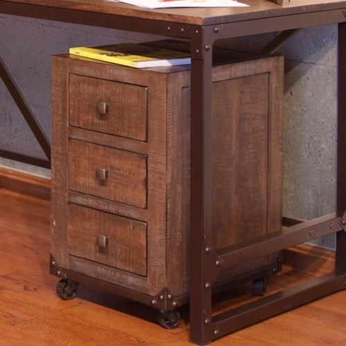 International Furniture Direct Urban Gold Office Storage Unit with 3 Drawers