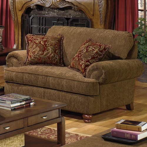 Jackson Furniture 4347 Belmont Chair and a Half with Rolled Arms and 2 Decorative Pillows