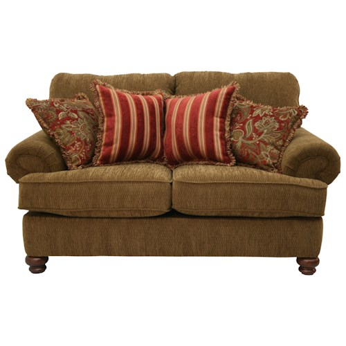 Jackson Furniture 4347 Belmont Traditional Styled Loveseat with Decorative Rolled Arms