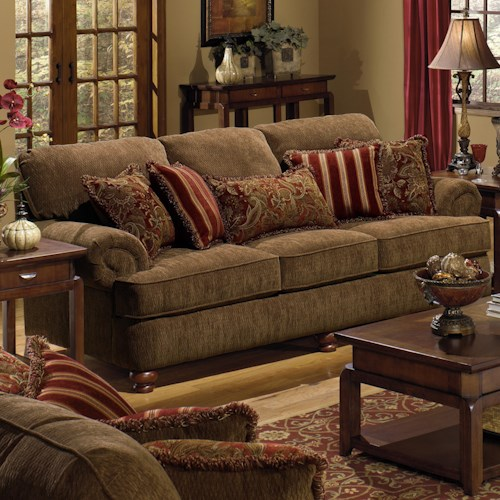Jackson Furniture 4347 Belmont Sofa with Rolled Arms and Decorative Pillows