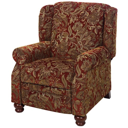 Jackson Furniture 4347 Belmont Traditional High Leg Recliner with Turned Wood Feet