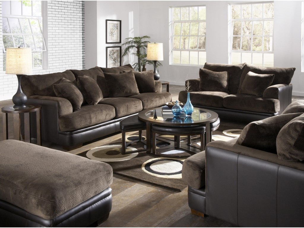 Shown with Coordinating Collection Sofa. Chair and a Half and Ottoman Shown Right and Left Corners.
