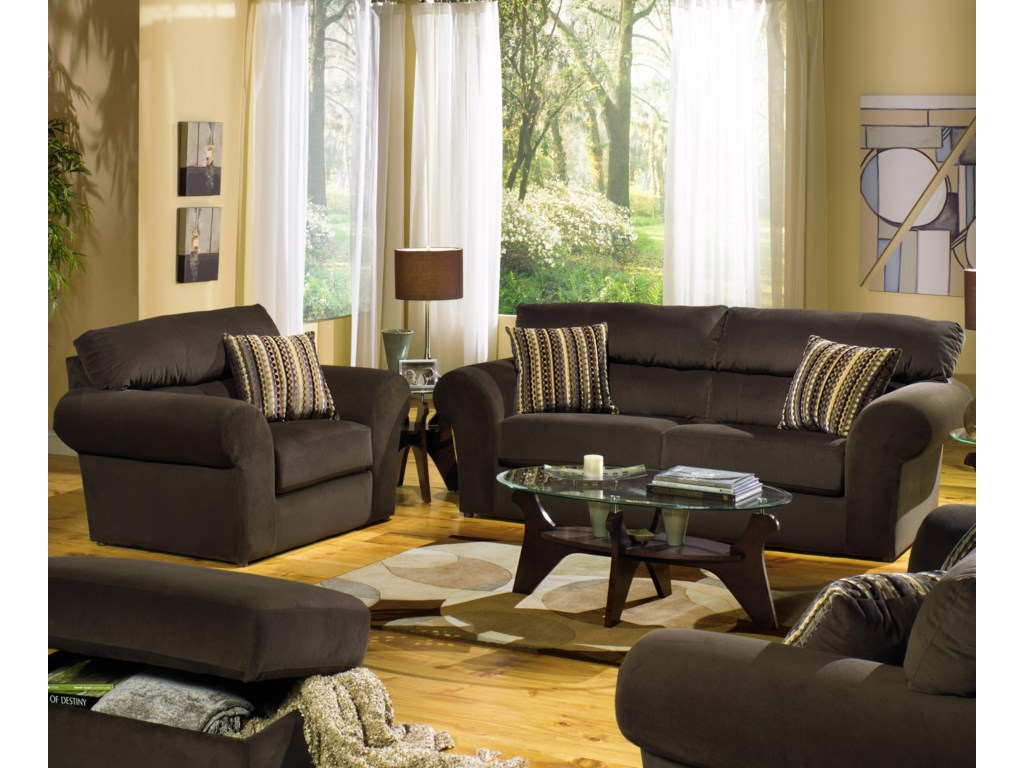 Shown in Room Setting with Ottoman, Sofa and Love Seat