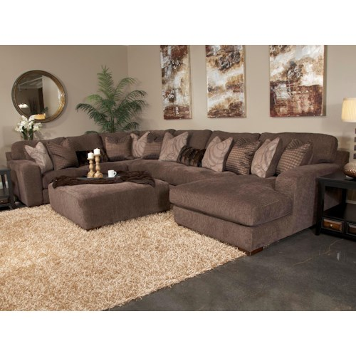 Jackson Furniture Serena Five Seat Sectional Sofa with Chaise on Right Side