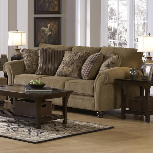 Jackson Furniture Suffolk  Traditional Styled Sofa with Elegant Arms in Classic Furniture Style