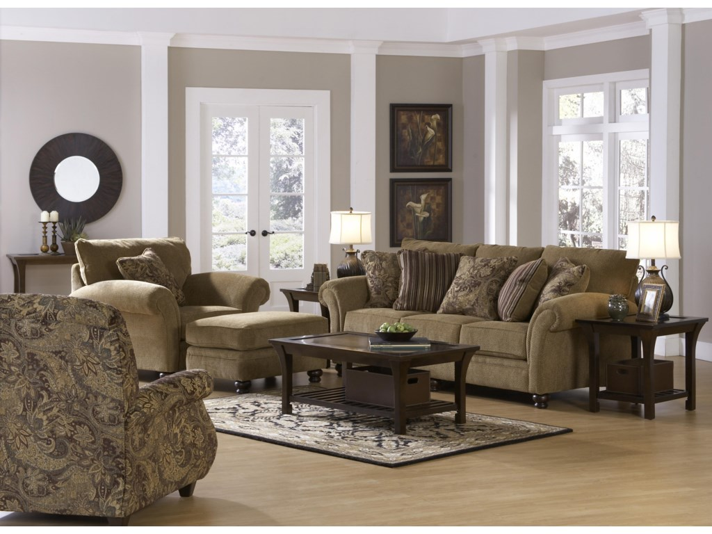 Shown with Coordinating Collection Chair and Ottoman. Recliner Shown Left Corner.