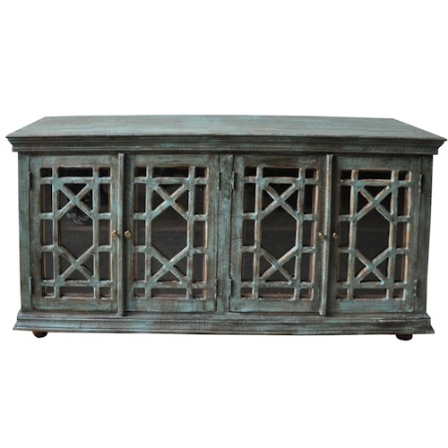 Morris Home Furnishings Morris Home Furnishings Botswana Washed Blue 4-Door Sideboard with Glass Door Fronts