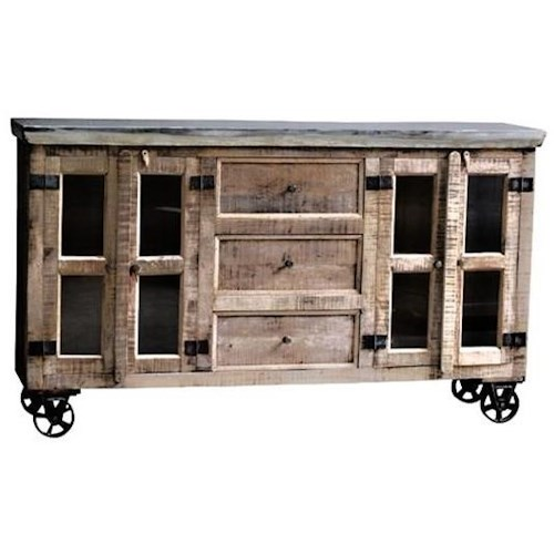Warehouse M Guru Sideboard with Wheels and Galvanized Top