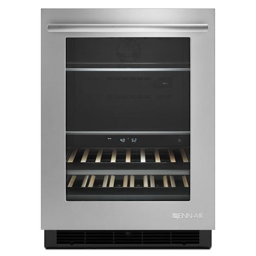 """Jenn-Air Special Compact Refrigeration 24"""" Under Counter Beverage Center with Independent Temperature Zones"""
